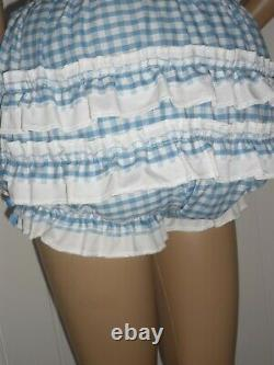 Gingham Sissy Adult Baby Play Dress And Matching Panties & Cuffs