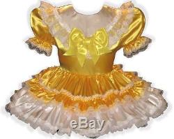 Hillary Custom Fit Lacy GOLD SATIN Adult LG Sissy Baby Dress LEANNE