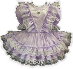 Jamie Custom Fit LILAC SATIN RUFFLES Adult LG Sissy Baby Dress LEANNE