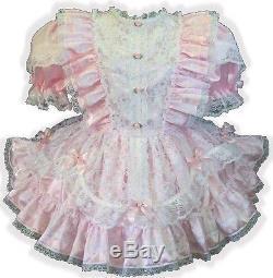 Janet Custom Fit PINK SATIN & LACE RUFFLES Adult LG Sissy Baby Dress LEANNE