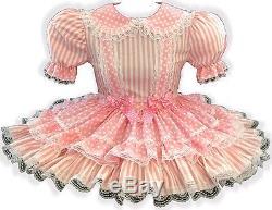 Jennie CUSTOM Fit PINK Dots Stripes Adult Little Girl Baby Sissy Dress LEANNE