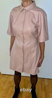 K. Leder-Mini-Kleid Baby Rosa geknöpft L 42 Sissy Zofe Maid Adult Kittel PU PVC