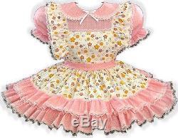 Katie Custom Fit PINK Ruffles Adult Little Girl Baby Sissy Dress & Sash LEANNE