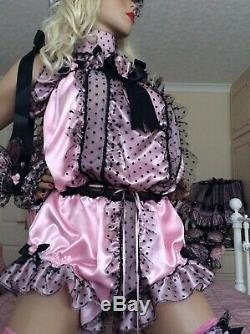 LUXURY SATIN POLKA FRILL SISSY MAID ADULT BABY ALL in ONE ROMPER PANTIES lined