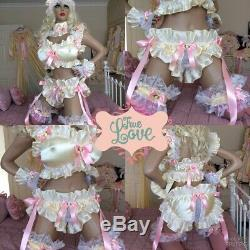 LUXURY SILKY SATIN FRILLY LACE SISSY MAID ADULT BABY DOLL TIE ON PANTIES lined
