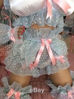 LUXURY SILKY SATIN POLKA SISSY MAID ADULT BABY FULL CUT CRINOLINE PANTIES Lined