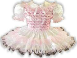 Lacy Satin Pink Organza Adult Little Girl Baby Sissy Birthday Dress LEANNE