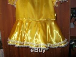 Ladiessissymaidsadult Babyunisex Yellow Satin & Lace Dress Nix & Petticoat
