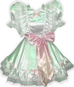 Lanette Custom Fit WHITE Satin Adult LG Baby Sissy Dress & Sash LEANNE