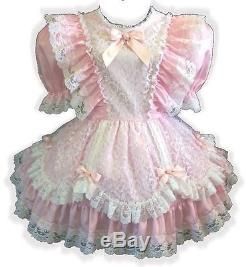 Laura Custom Fit PINK Satin & LACE Adult LG Baby Sissy Dress LEANNE
