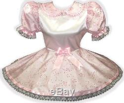 Layla Custom Fit PINK Satin Sparkle Taffeta Adult Baby LG Sissy Dress LEANNE