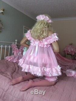 Luxury Sheer Pink Nylon Satin Polka Sissy Maid Adult Baby Doll Dress Negligee
