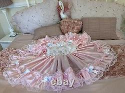 Luxury Silky Satin Chiffon French Lace Sissy Maid Adult Baby Doll Wench Dress