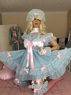 Luxury Silky Satin Frilly Lace Sissy Maid Adult Baby Doll 2 Tier Chiffon Dress
