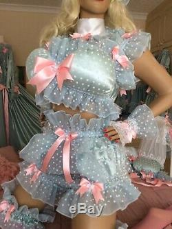 Luxury Silky Satin Frilly Polkadot Lace Sissy Maid Adult Baby Doll Padded Bra
