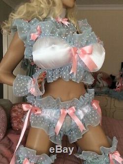 Luxury Silky Satin Frilly Sissy Maid Adult Baby Doll Jingle Nipple Padded Bra