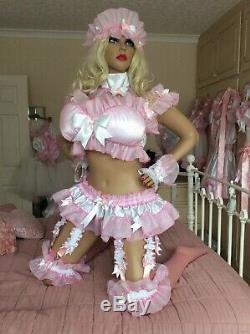 Luxury Silky Satin Pink Rainbow Frilly Sissy Maid Adult Baby Doll Padded Bra