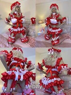 Luxury Silky Satin Sissy Maid Adult Baby Doll 8 Strap Tu Tu Suspender Belt Skirt