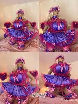 Luxury Silky Satin Sissy Maid Adult Baby Doll Heart Bib Pinafore Apron Pinny