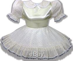 Mary CUSTOM FIT ButtonBack Yellow Satin Rosebuds Adult Baby Sissy Dress LEANNE