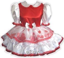 Maureen Custom RED & WHITE Satin Rose Petals Adult LG Baby Sissy Dress LEANNE