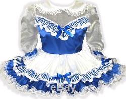 Maya Custom Fit Satin See-Thru Organza Stripe Adult Baby LG Sissy Dress LEANNE