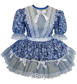 NEW Beautiful Blue Floral Adult Baby Sissy Dress up Costume by Kathy
