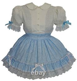 NEW Unique Baby Blue & White Adult Sissy Dress up Costume by Kathy S