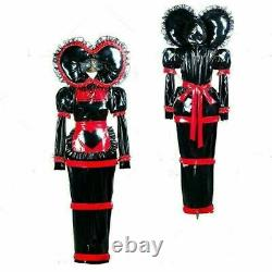 NEW adult baby sissy Maid black PVC Dress lockable TV Romper Tailor-made
