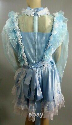 NEWAdult Sissy LG Sheer Organza Sleeves Baby Blue Satin Dress Plus Sz 1X 2X 3X