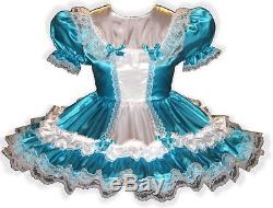 Natalie Custom Fit Aqua & White SATIN Adult LG Baby Sissy Dress LEANNE