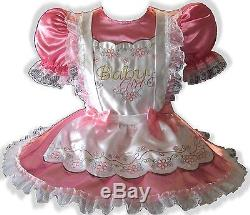 Natasha CUSTOM FIT Satin Adult BABY GIRL Sissy Dress & Pinafore LEANNE