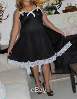 Neljen Adult SiSsy BaBy Fancy Vintage Slip Dress BLACK Tricot with Wide Sweep