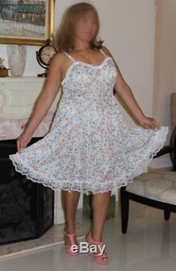 Neljen Adult SiSsy BaBy Fancy Vintage Slip Dress White Floral Tricot Size Large