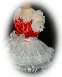Neljen Adult Sissy Baby Doll Satin SLIP Dress with Organza Skirt & Lots of Lace