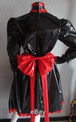 New Pvc Frilly Full Length Sissy Dress & Apron Pvc Adult Baby Lolita Maids Dress
