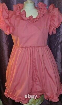 New pink adult sized cotton dress sissy maid cosplay baby style party quality