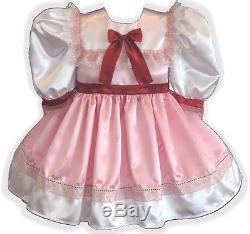 Olivia Custom Fit Lacy Satin Adult LG Baby Sissy Dress LEANNE