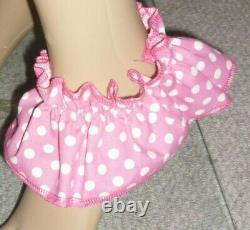 Pink White Spot Sissy Adult Baby Play Dress And Matching Panties & Cuffs