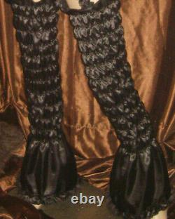 Prissy Sissy Maid Adult Baby CD/TV Black Faux Satin Elasticated Arm & Leg Covers