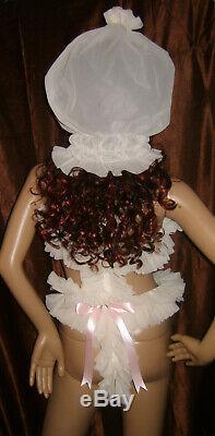 Prissy Sissy Maid Adult Baby CD/TV Lockable Slave Spanky Pant Trap & Padlock