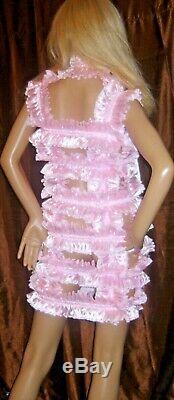 Prissy Sissy Maid Adult Baby CD/TV Lockable Spanky Dress & Padlock