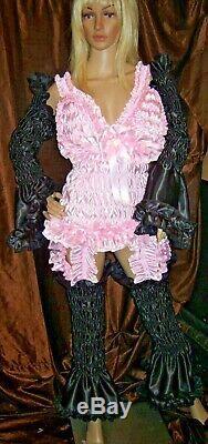Prissy Sissy Maid Adult Baby CD/TV Sliky Black Elasticiated Arm & Leg Covers Set