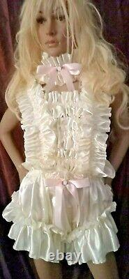 Prissy Sissy Maid Adult Baby CDTV Cream Lockable Strappy Playsuit & Padlock