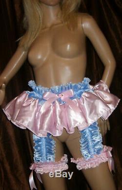 Prissy Sissy Maid Adult Baby Faux Satin 4 Strap Suspender Belt & 2 Garters