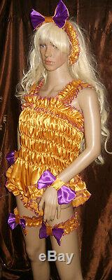 Prissy Sissy Maid Adult Baby Gold Elasticated All in one Teddy Play Suit