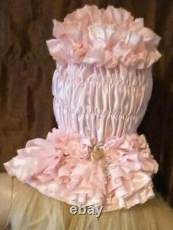 Prissy Sissy Maid Adult Baby Pink CD/TV Lockable Mincing Slave Hood & Padlock