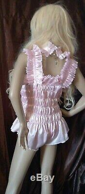 Prissy Sissy Maid Adult Baby Pink Elasticated Lockable Teddy Playsuit & Padlock