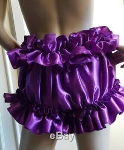Prissy Sissy Maid Adult Cadbury Purple & Gold Faux Satin Frilly Full Cut Panties