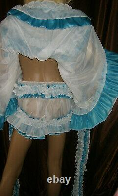 Prissy Sissy Maid Adult Turquoise & White Sheer Frilly Full Cut Panties